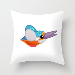 Flying kingfisher bird. Vector graphic character Throw Pillow