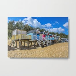 Coloured Beach Huts 3 Metal Print