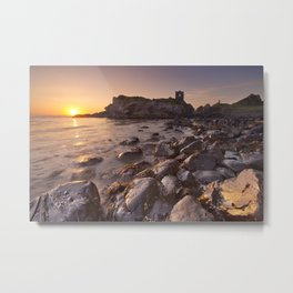 Sunrise at Kinbane Castle in Northern Ireland Metal Print