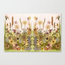 Pink Garden mirrored Canvas Print