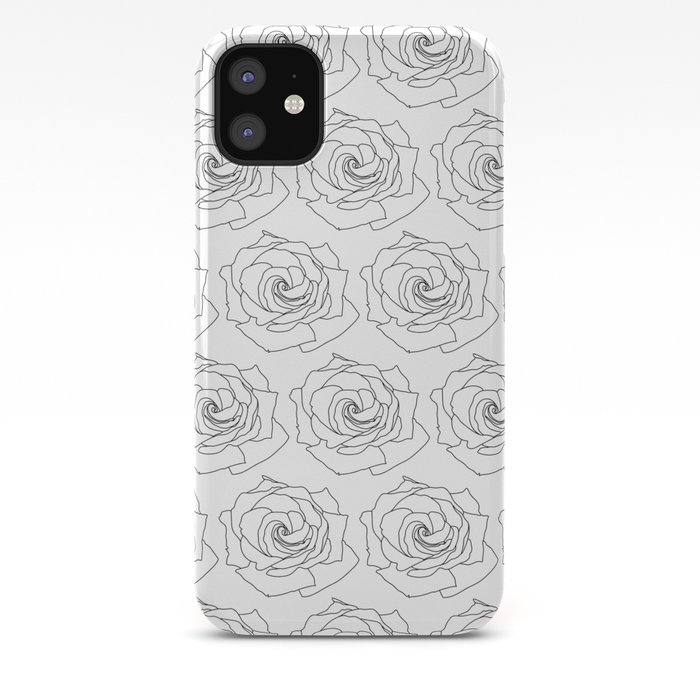 Minimal Line Rose Pattern Wallpaper Background Black And White