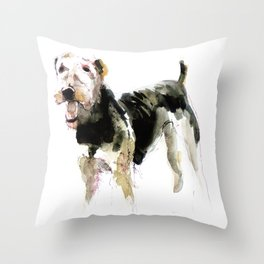 Airedale Terrier on watercolor Throw Pillow