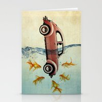 vw Stationery Cards featuring VW beetle and goldfish by Vin Zzep