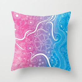 Pink & Blue Swirly Floral Dream Throw Pillow