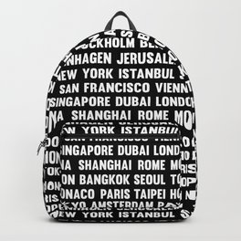 Famous City pattern black & White Backpack