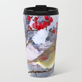 Red Birds of Christmas Travel Mug