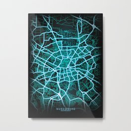 Nuremberg, Germany, Blue, White, Neon, Glow, City, Map Metal Print