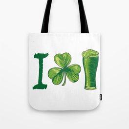 I Love Beer St. Patrick's Day Shamrocks Funny Tote Bag