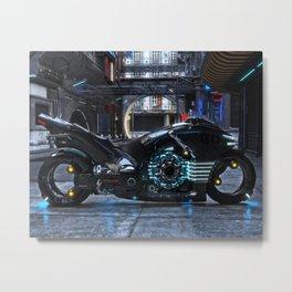 Futuristic light cycle on display Metal Print