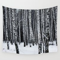 birch Wall Tapestries featuring Birch Trees by Lostfog Co.