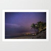 HAWAII - NorthShore night Sky - Stars and beach Art Print