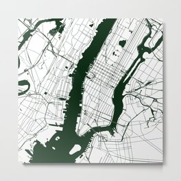 New York City White on Green Street Map Metal Print