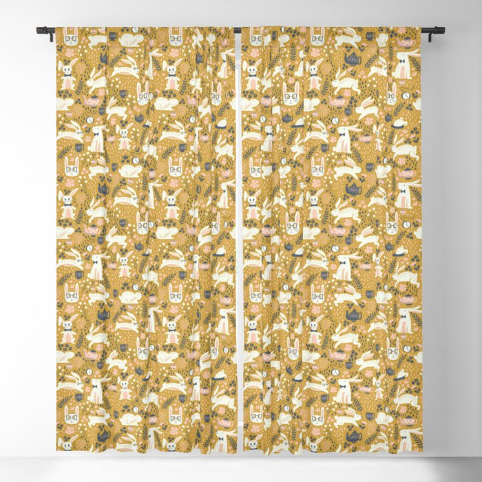 Bunnies + Teapots in Gold Blackout Curtain