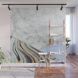 Geometric White Marble - Blue Marble & Light Blue #368 Wall Mural