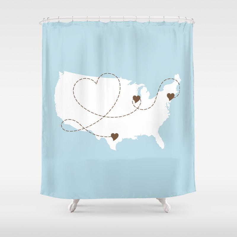 Usa Long Distance Love Story Map Shower