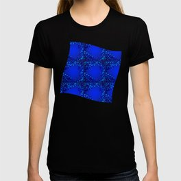 Sea explosive pattern of rhombuses and squares at the depth of the blue ocean. T-shirt
