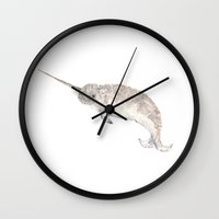 narwhal Wall Clocks featuring Narwhal by ThimbleSparrow