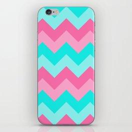 Hot Pink Turquoise Aqua Blue Chevron Zigzag Pattern Print iPhone Skin