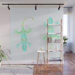 Cute gecko lizard in green aqua and gold Wall Mural