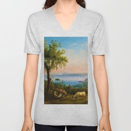 The Gulf of Pozzuoli, Campania, Italy by Jakob Philipp Hackert Unisex V-Neck