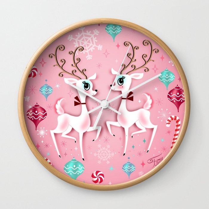 Cute Christmas Reindeer Wall Clock