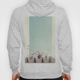 Pink flowers on the white rooftop Hoody