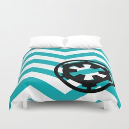 Imperial Cog on Blue Chevrons Duvet Cover
