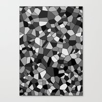 gray pattern Canvas Prints featuring Gray Monochrome Mosaic Pattern by Margit Brack