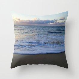 foamy shore Throw Pillow