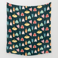 moth Wall Tapestries featuring Moth  by Emma Rebecca Rees