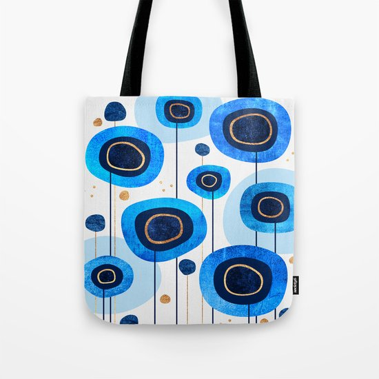Floral Blues Tote Bag