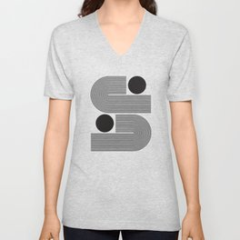 Abstraction_BLACK_LINE_DOT_POP_ART_Minimalism_004D Unisex V-Neck