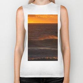 Sunset Orange Wave Spray Beach Ocean Seascape Landscape Colored Wall Art Print Biker Tank