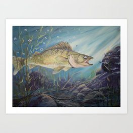 Feeding Time (Walleye) Art Print