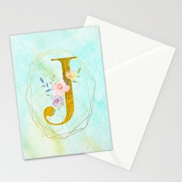 Gold Foil Alphabet Letter J Initials Monogram Frame with a Gold Geometric Wreath Stationery Cards
