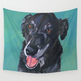Bob the Black Dog Fine Art Portrait Wall Tapestry