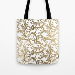 Vintage faux gold elegant floral damask Tote Bag
