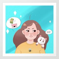 bee and puppycat Art Prints featuring Bee and Puppycat by Cookie