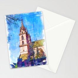 Minster Church - Basel, Switzerland Stationery Cards