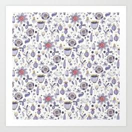 Botanical motif, flowers pattern, leaves pattern, Art Print