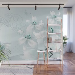 Modern White Lilies (light teal) Wall Mural
