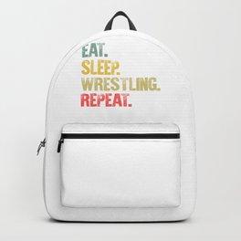 Eat Sleep Repeat Shirt Eat Sleep Wrestling Repeat Funny Gift Backpack
