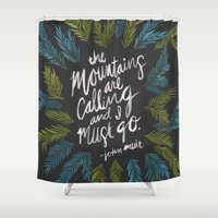 the mountains are calling Shower Curtains featuring Mountains Calling – Charcoal by Cat Coquillette