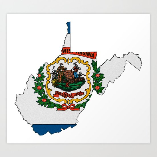 West Virginia Map With State Flag Art Print By Havocgirl Society6