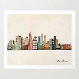 los angeles skyline Art Print