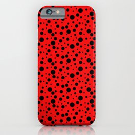 Ladybug style - scarlet red background and black polka dots iPhone Case