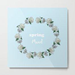 Roses bouquet, Blue, floral, flowers, leaves, botanical, pattern, decor, art, society6 Metal Print