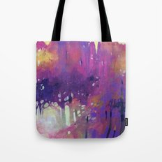 Misty morning in the forest Tote Bag