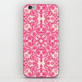 Hot Pink & Soft Cream Folk Art Pattern iPhone Skin