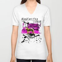 manchester V-neck T-shirts featuring Manchester Terier by Genco Demirer